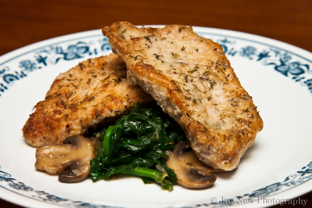 Pork Chops with Spinach and Mushrooms