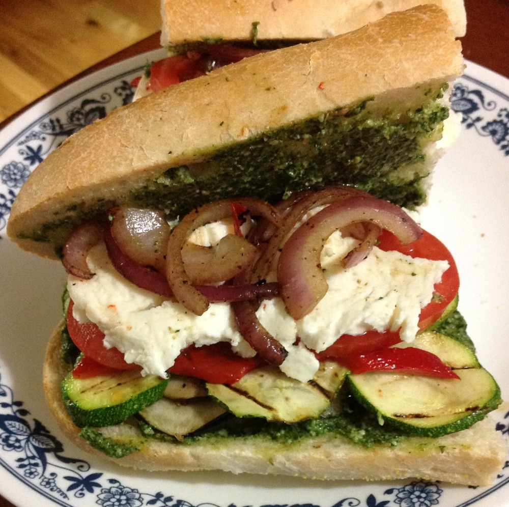 Grilled Vegetables and Pesto Sandwich
